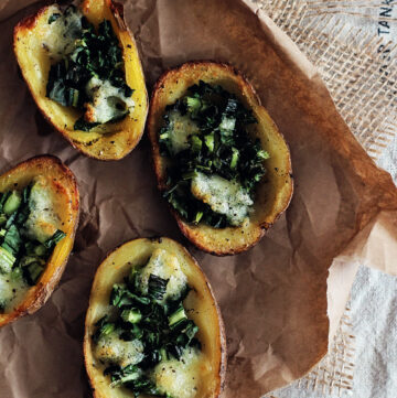 Cheesy Kale Potato Skins - HelloVeggie.co