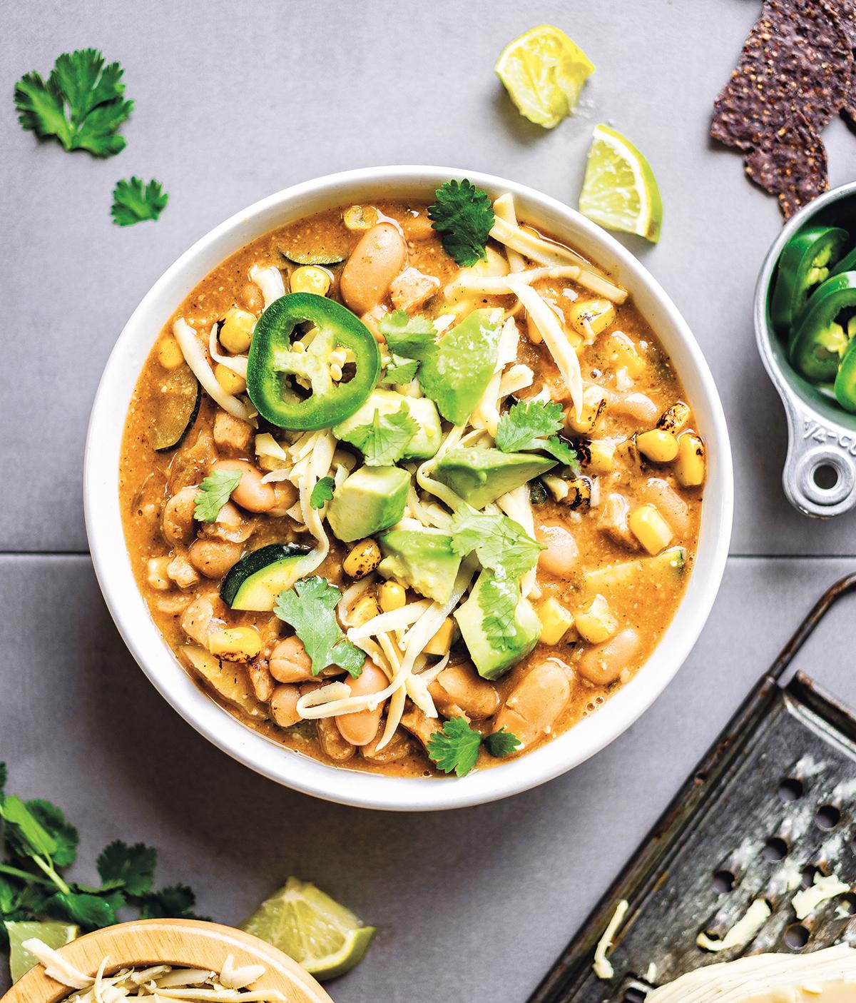 """Totally Comforting White Bean """"Chicken"""" Chili Recipe - Hello Veggie"""