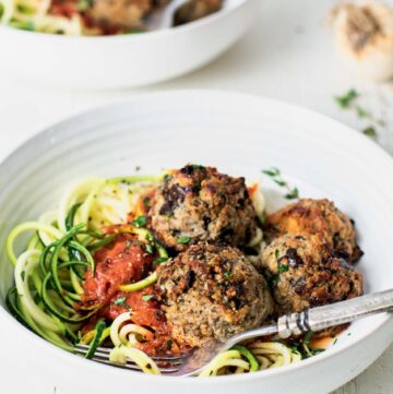 Eggplant Meatballs with Zoodles