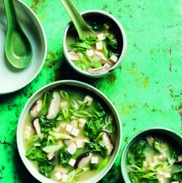 Nourishing Shiitake, Miso, Spinach & Tofu soup